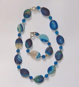 Blaue Achatkette + Armband