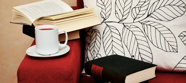 Gemütlich auf dem Sofa mit Tee und gutem Buch